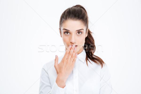 Retrato empresária palma jovem Foto stock © deandrobot