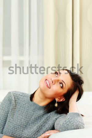 Close up portrait of woman wearing sweater and red lipstick Stock photo © deandrobot
