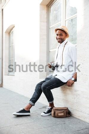 Portre moda siyah adam sokak gözlük adam Stok fotoğraf © deandrobot