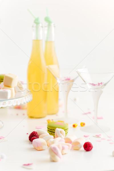 Dwa okulary słodycze lemoniada biały żywności Zdjęcia stock © deandrobot