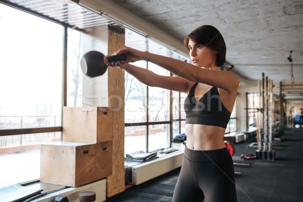 Stock fotó: Fitnessz · nő · tornaterem · koncentrált · fiatal · nők · egészség