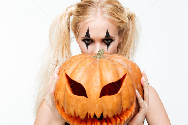 Portrait jeunes femme blonde halloween composent cacher Photo stock © deandrobot