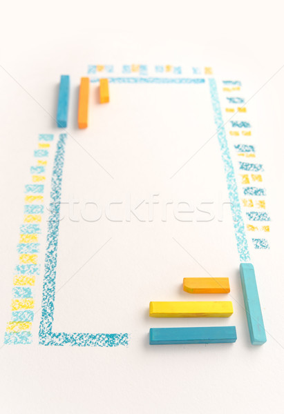 Close up photo of color chalk drawing as striped line Stock photo © deandrobot