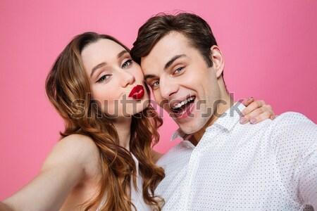 Kép kettő elégedett nők pózol másfelé néz Stock fotó © deandrobot