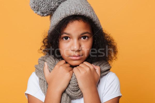 Portret zamrożone afro amerykański dziewczyna Zdjęcia stock © deandrobot
