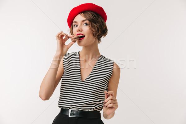 портрет женщину красный берет еды Сток-фото © deandrobot