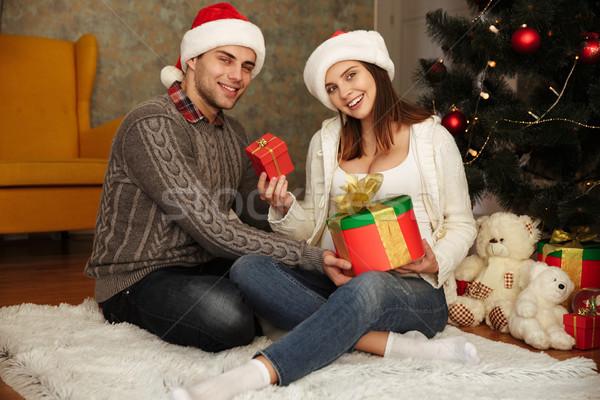 счастливым беременная женщина муж Рождества Сток-фото © deandrobot
