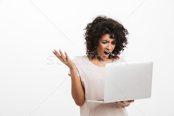 Portrait of an angry young afro american woman yelling Stock photo © deandrobot