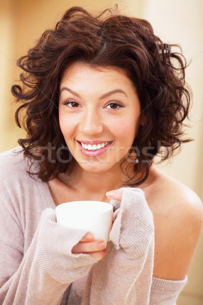 домой чай Кубок дома женщины Сток-фото © deandrobot
