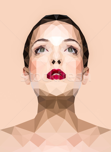 Polygonal image of a woman Stock photo © deandrobot