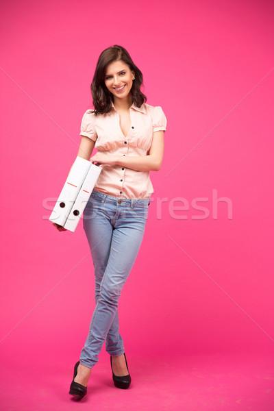 Felice donna cartelle ritratto Foto d'archivio © deandrobot