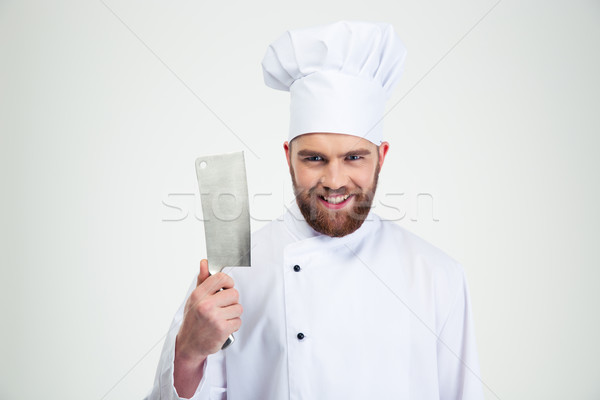 Homme chef Cook grand couteau Photo stock © deandrobot