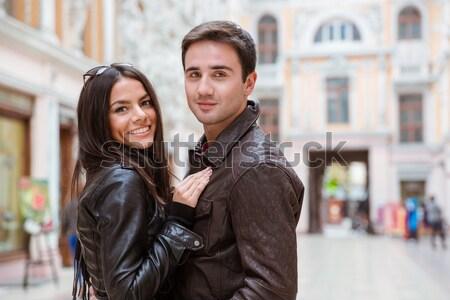 Mujer coquetear amigo aire libre retrato feliz Foto stock © deandrobot