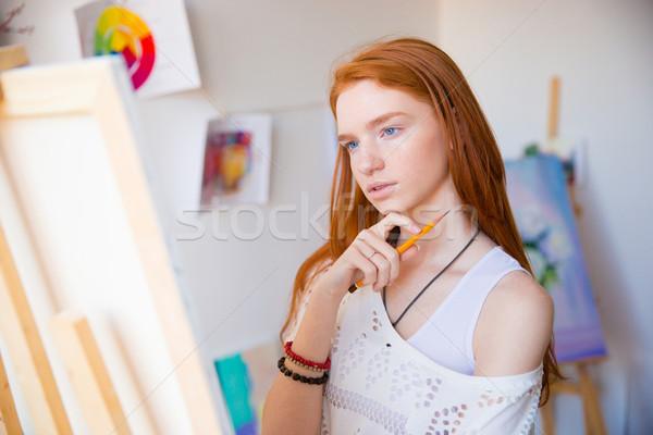 かなり 小さな 赤毛 女性 アーティスト ストックフォト © deandrobot