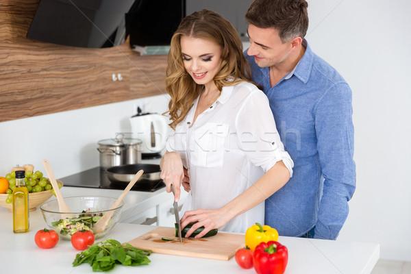 красивой пару Салат вегетарианский Сток-фото © deandrobot