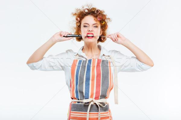 Zdjęcia stock: Piękna · gospodyni · domowa · kuchnia · fartuch