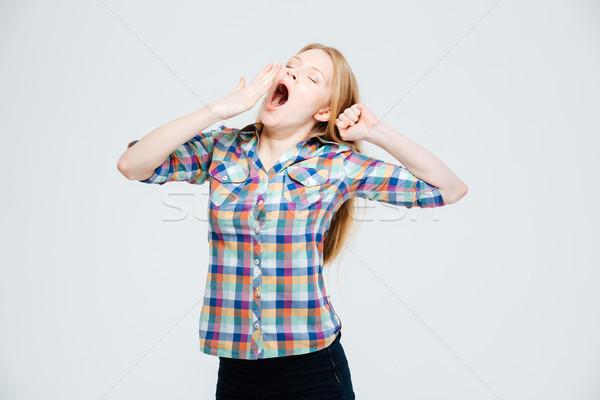 Mulher jovem isolado branco menina feliz Foto stock © deandrobot
