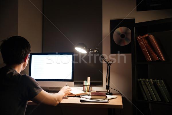 Hátulnézet férfi dolgozik képernyő számítógép ázsiai Stock fotó © deandrobot