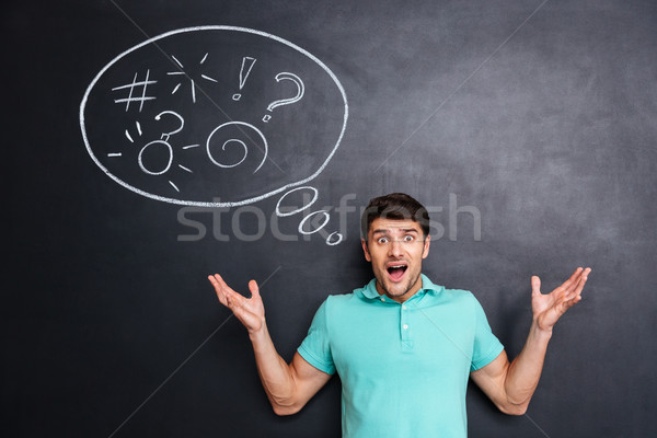 Angry astonished man shouting over blackboard background with speech bubble Stock photo © deandrobot