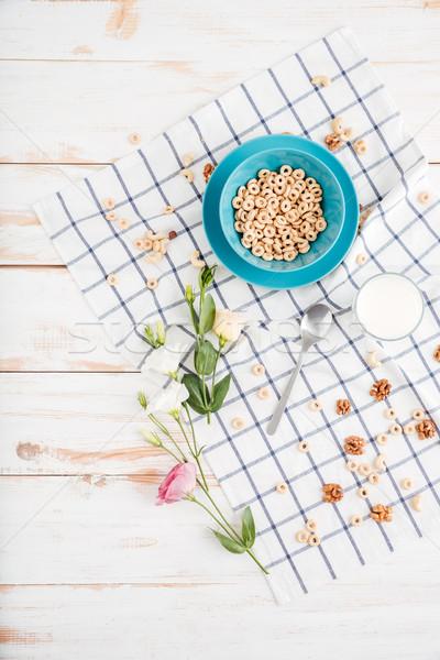 Ontbijt kom granen bloemen top Stockfoto © deandrobot