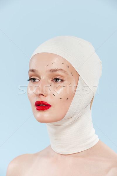 модель операция изолированный девушки лице Сток-фото © deandrobot