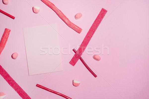 赤 砂糖 シート 紙 先頭 ストックフォト © deandrobot