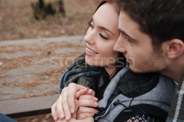 Aşıklar ahşap atış güzel yüzler Stok fotoğraf © deandrobot