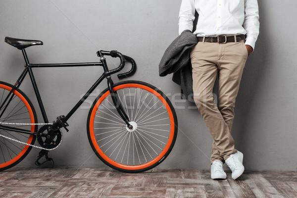 Half lichaam permanente fiets afbeelding geïsoleerd Stockfoto © deandrobot