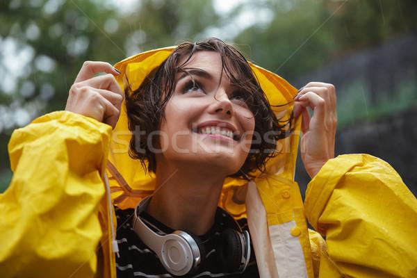 Közelkép portré mosolyog csinos tinilány fejhallgató Stock fotó © deandrobot