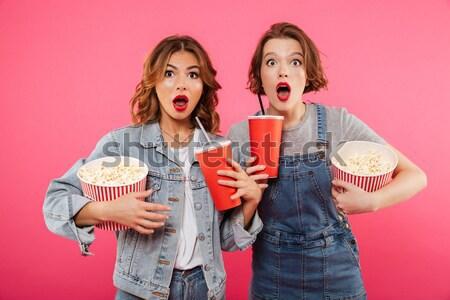 笑い 女性 友達 食べ ポップコーン 時計 ストックフォト © deandrobot