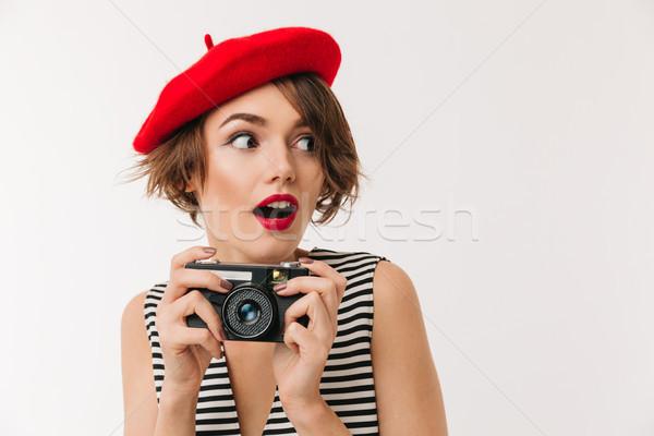 портрет возбужденный женщину красный берет Сток-фото © deandrobot
