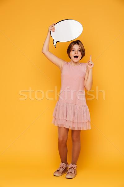 выстрел счастливым девушки пузыря речи Сток-фото © deandrobot