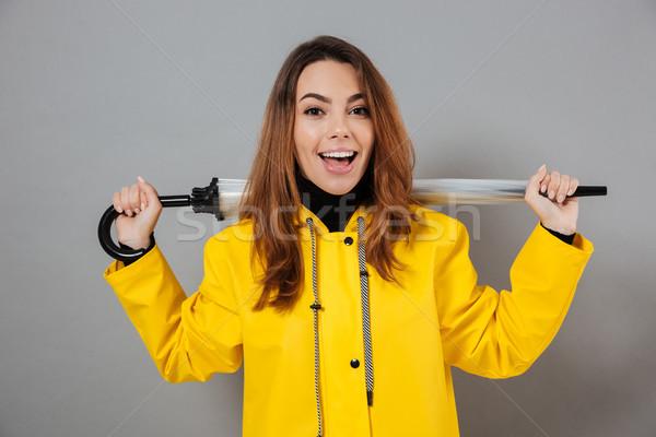 Portré boldog lány esőkabát gumicsizma pózol áll Stock fotó © deandrobot
