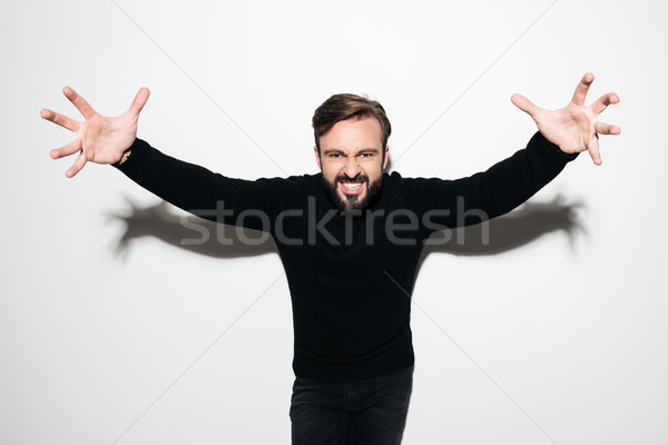 Portrait of a mad excited man standing with outstretched hands Stock photo © deandrobot