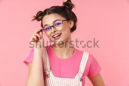 портрет удивленный довольно девушки 3d очки Сток-фото © deandrobot
