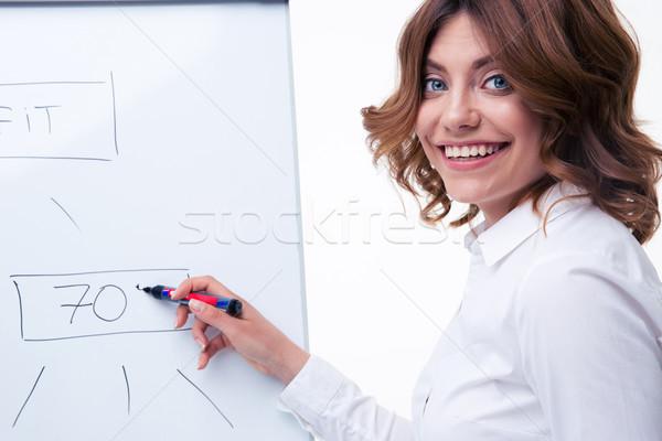女性実業家 戦略 メモ帳 笑みを浮かべて 眼鏡 ストックフォト © deandrobot