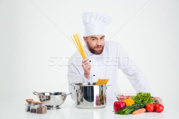 Mężczyzna kucharz gotować makaronu portret odizolowany Zdjęcia stock © deandrobot
