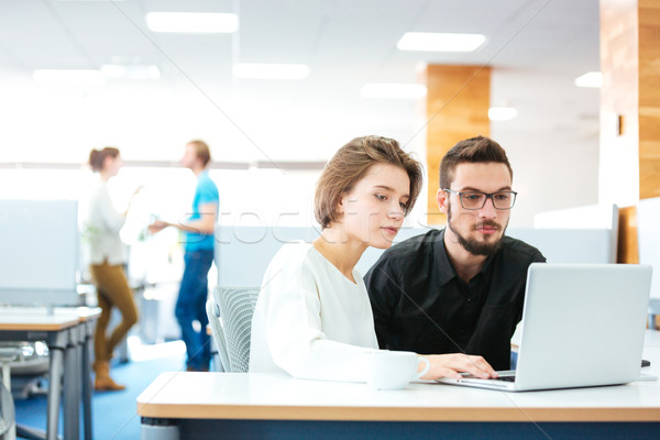 Serious focused man and woman working with laptop in office Stock photo © deandrobot