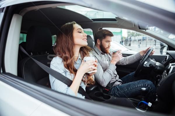 Pár autó kávé férfi kerék oldalnézet Stock fotó © deandrobot