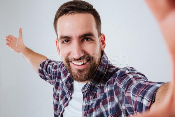 счастливым бородатый человека рубашку Сток-фото © deandrobot