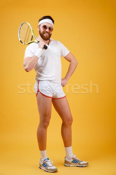 Boldog fiatal teniszező visel szemüveg kép Stock fotó © deandrobot