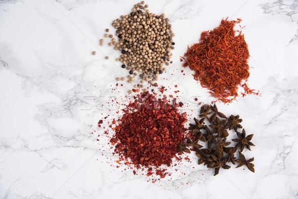 Anijs witte peper chili saffraan Stockfoto © deandrobot