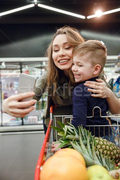 Stockfoto: Shot · moeder · zoon · jonge · glimlachende · vrouw