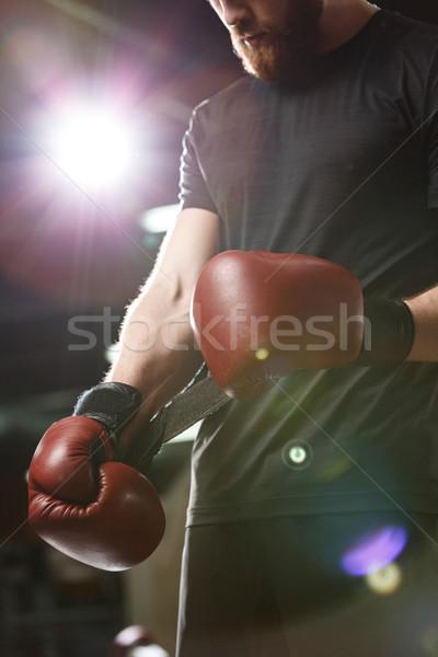 Jóvenes fuerte deportes hombre boxeador gimnasio Foto stock © deandrobot