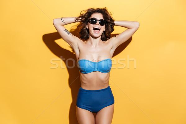 Heiter Badebekleidung isoliert Bild gelb Stock foto © deandrobot