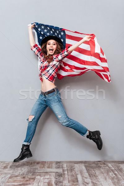 Feliz excitado EUA bandera Foto stock © deandrobot