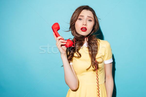 Portre yorgun bitkin kadın telefon kordon Stok fotoğraf © deandrobot
