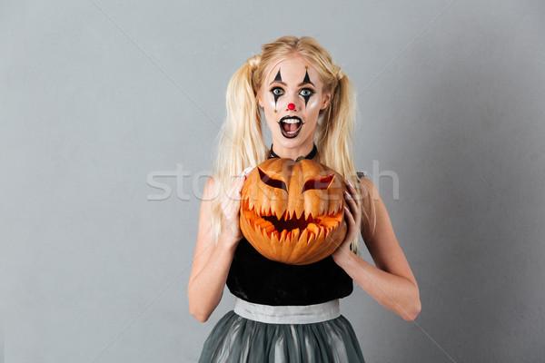 興奮した ハロウィン ピエロ 化粧 ストックフォト © deandrobot
