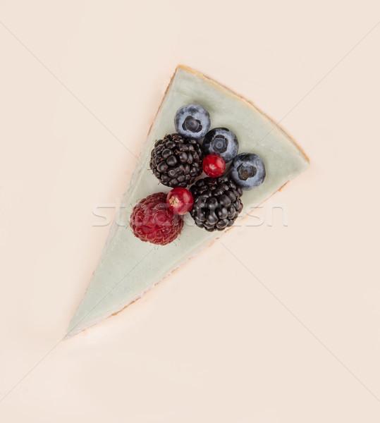 Haut vue bleu cheesecake différent baies Photo stock © deandrobot