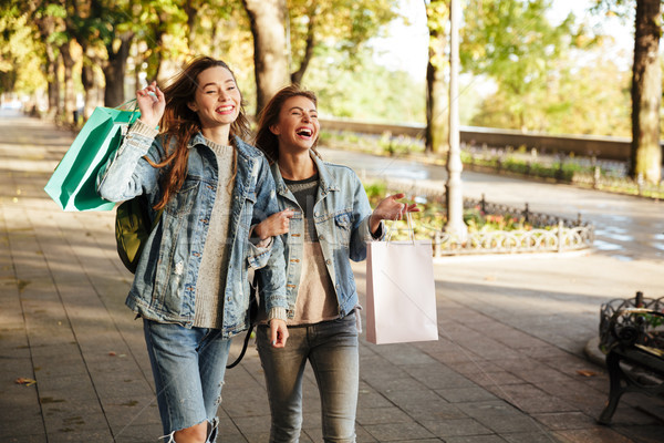 Portrait of two cheery young girls holding shopping bags Stock photo © deandrobot